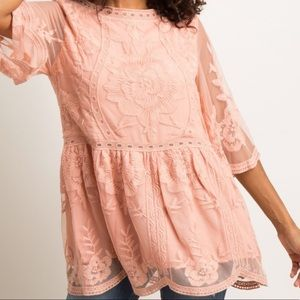 Pink Scalloped Embroidered Mesh Top NWT